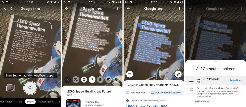 google lens text scannen und kopieren