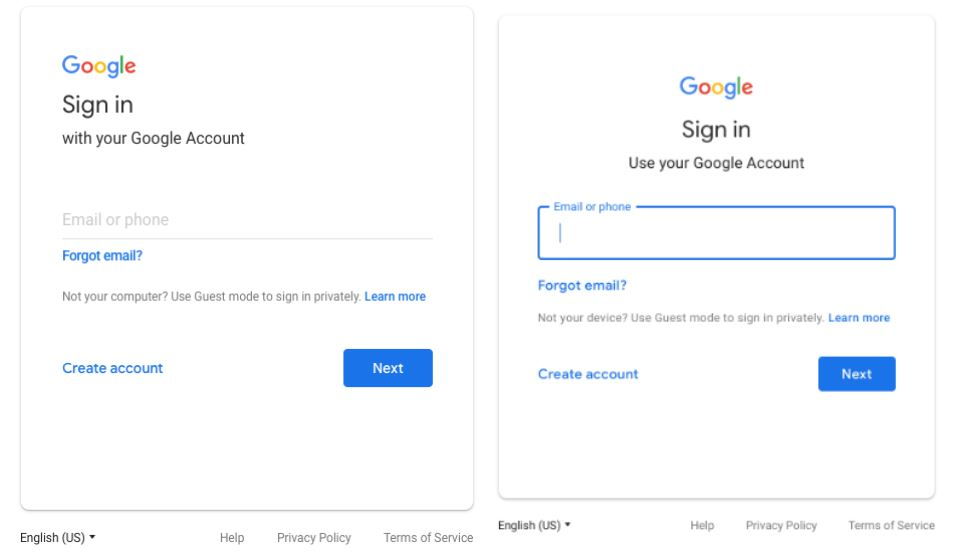 google login design