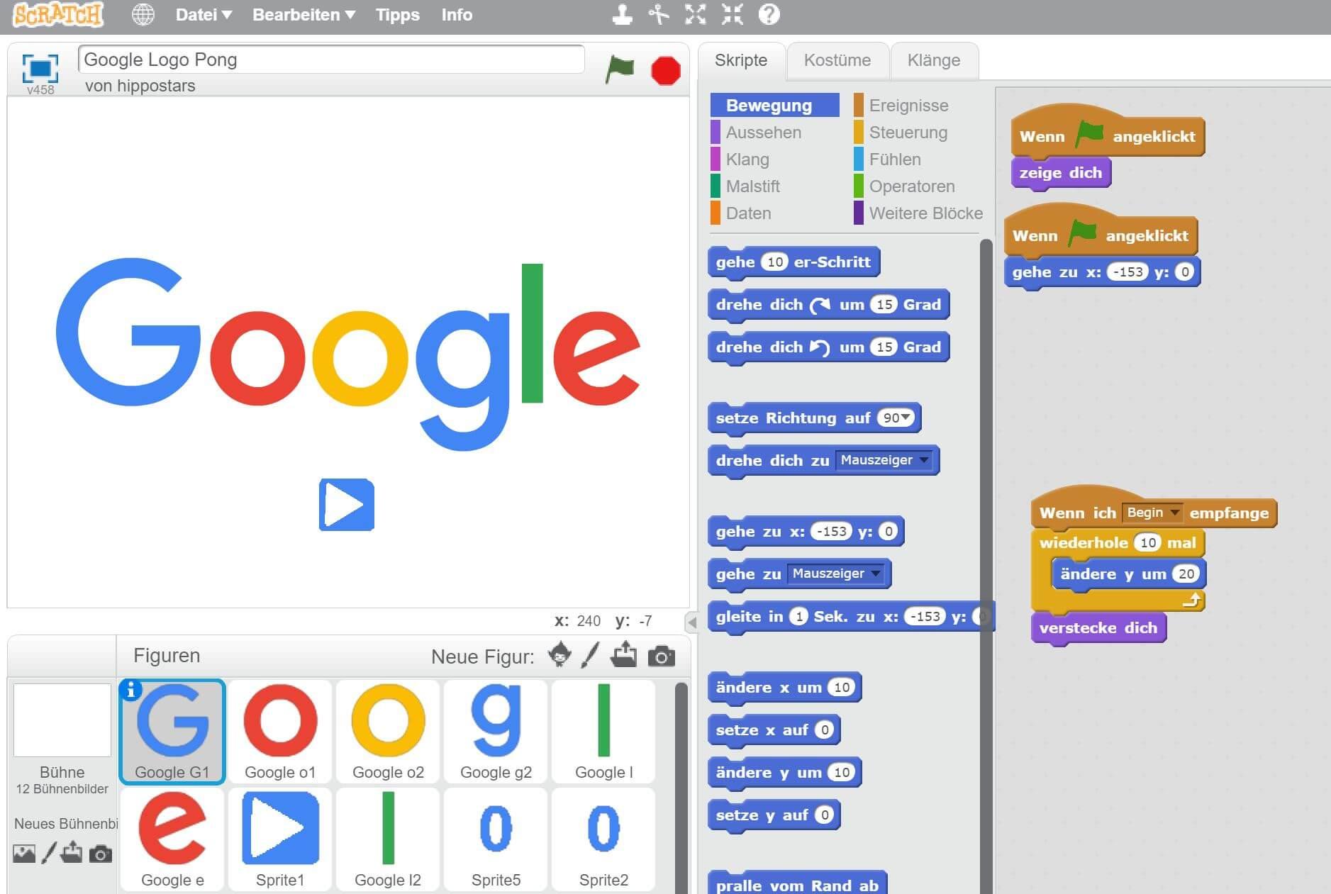 google logo pong