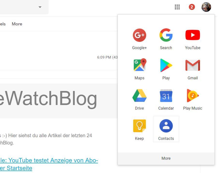 google mail app menu contacts