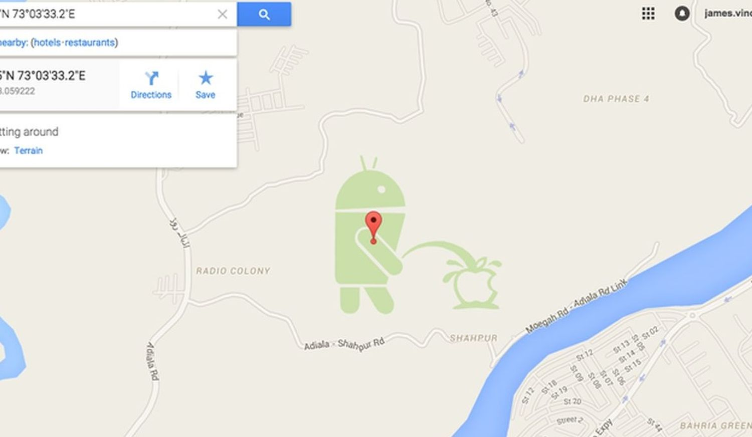 google maps android apple pee big