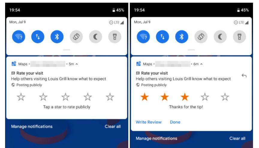 google maps bewertungen android benachrichtigungen