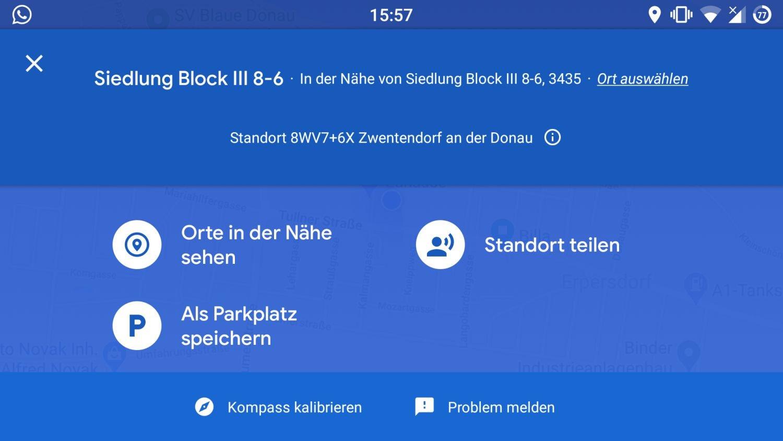 google maps blauer punkt parkplatz