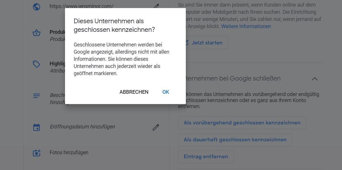google maps business coronavirus closed