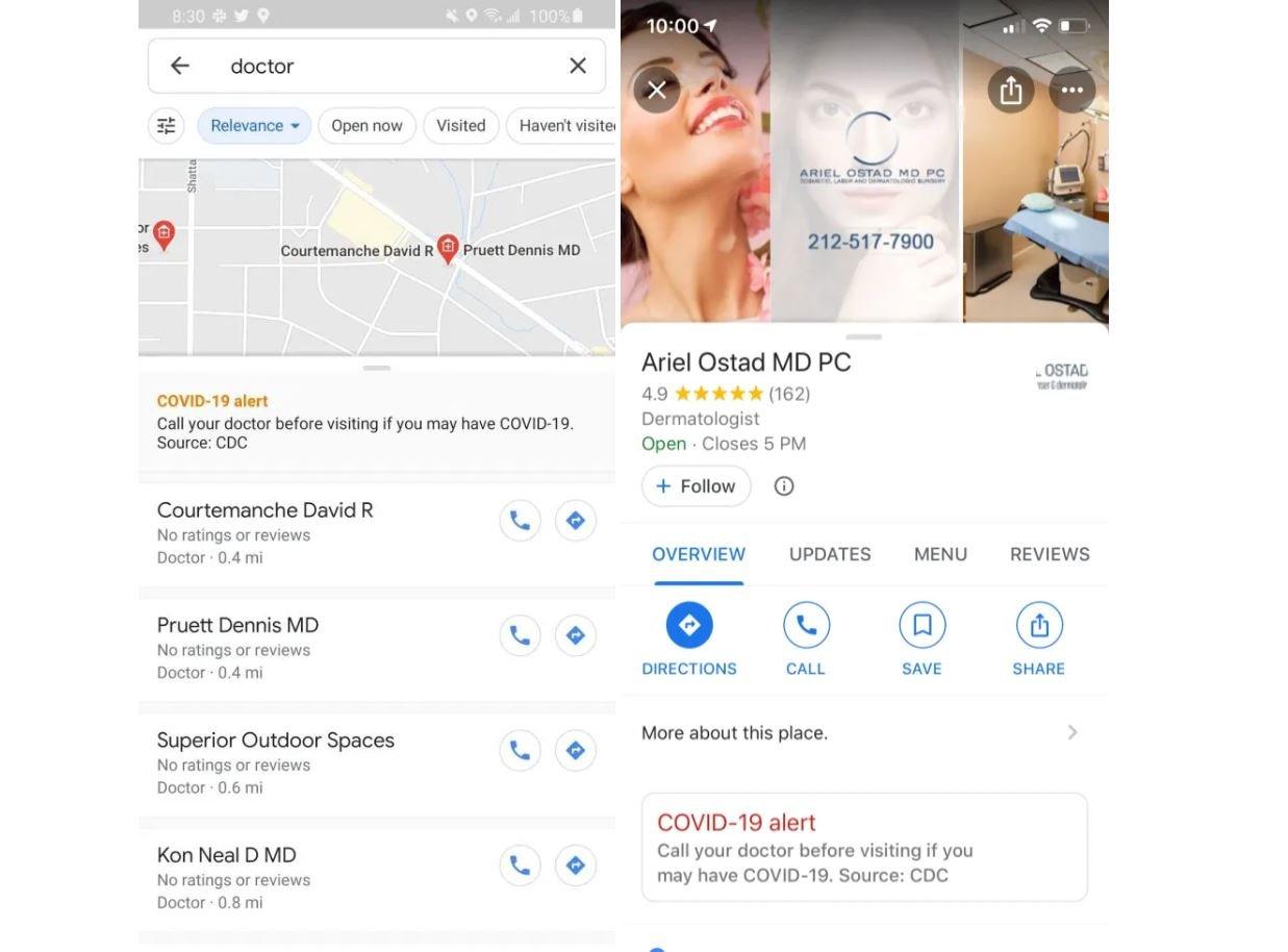 google maps coronavirus alert
