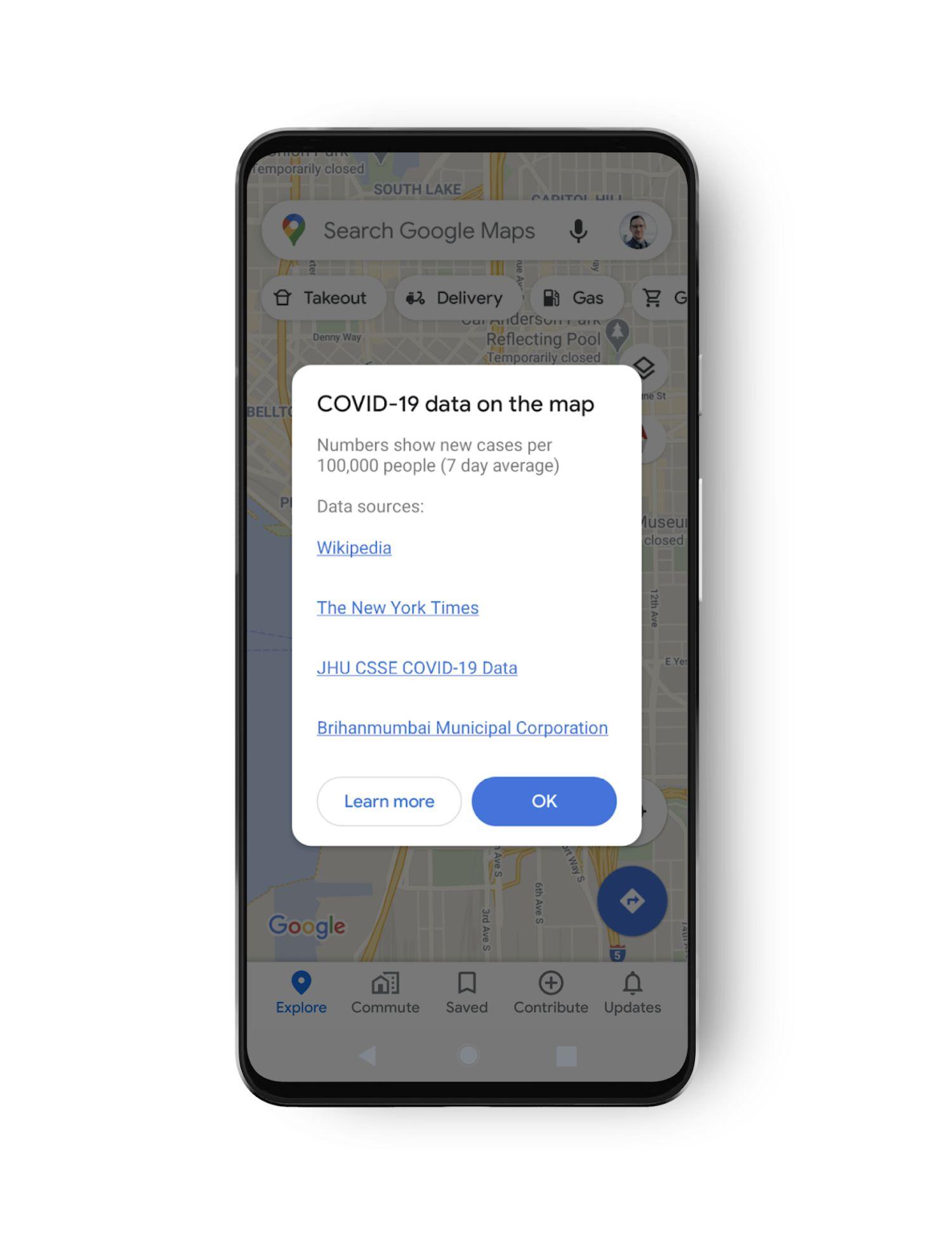 google maps covid 19 data