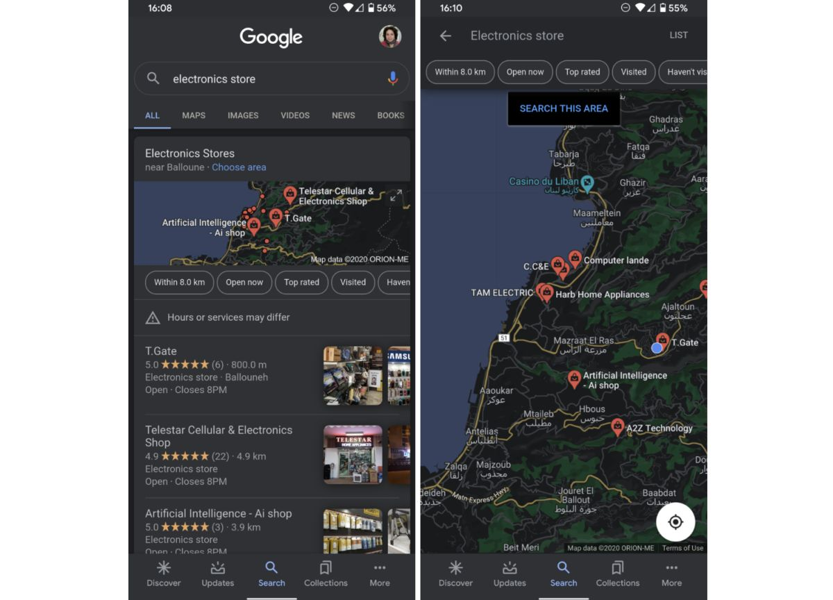 google maps dark mode google app