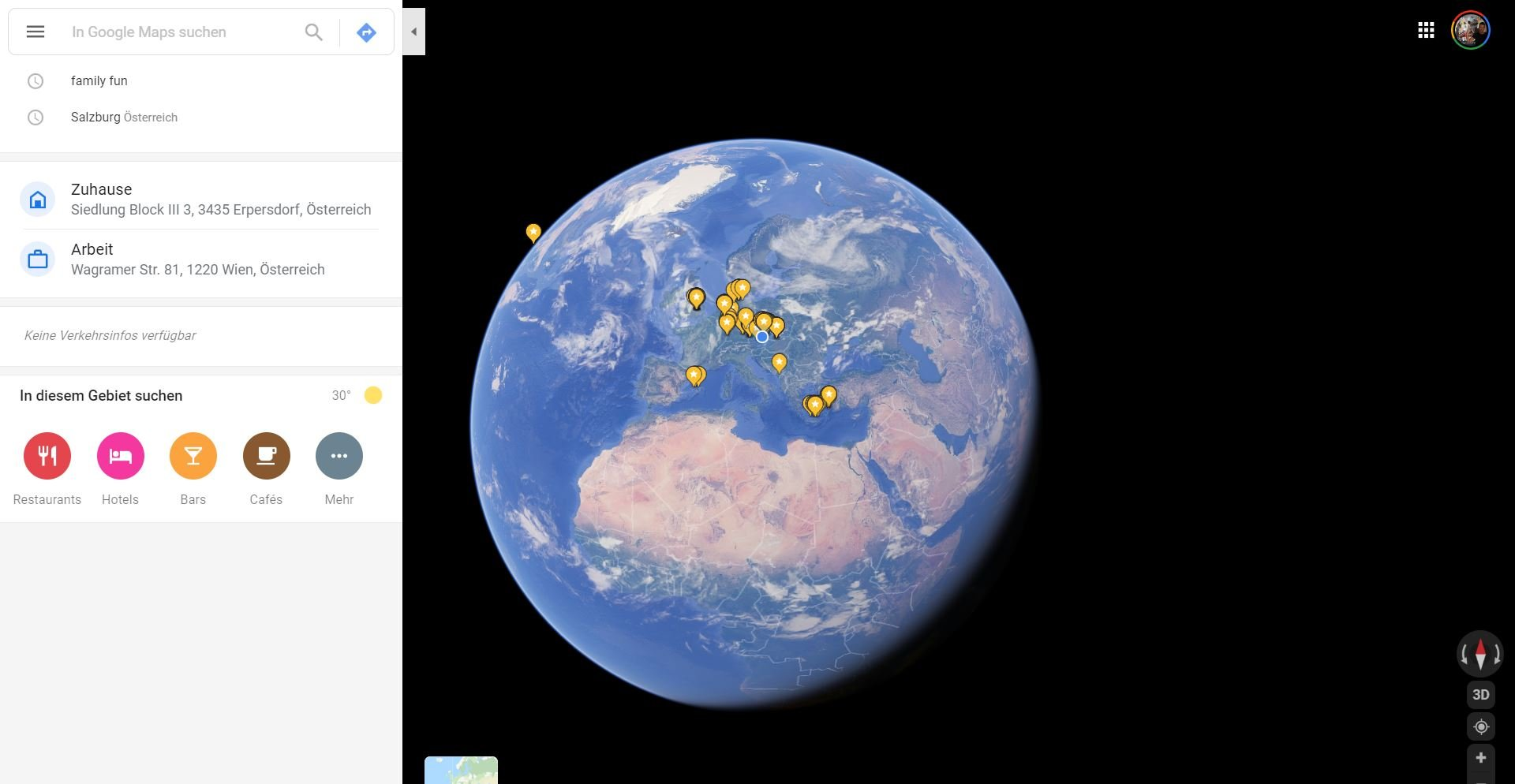 google maps earth sun
