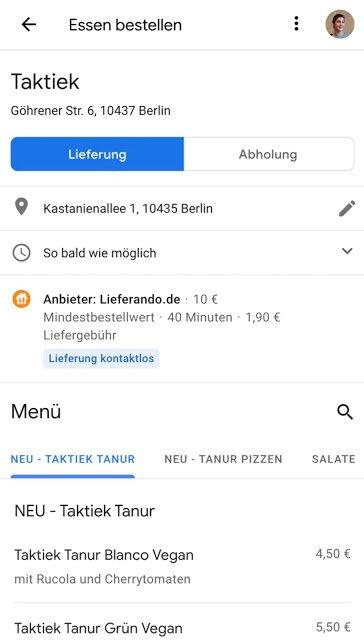 google maps essen bestellen