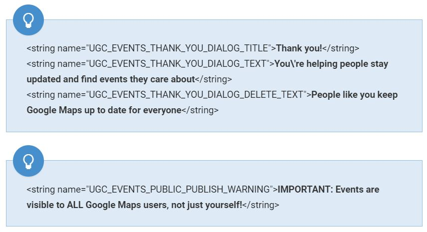 google maps events text
