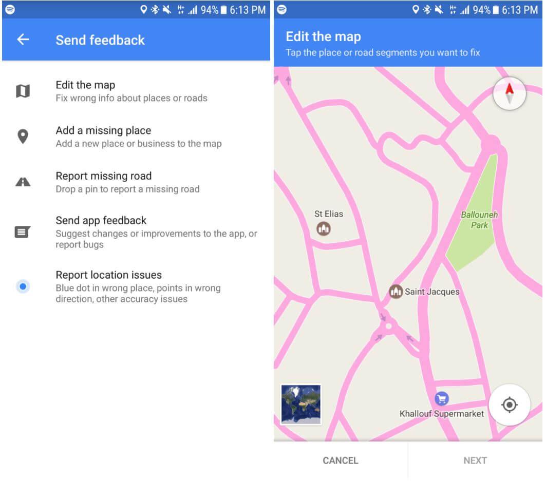 google maps feedback