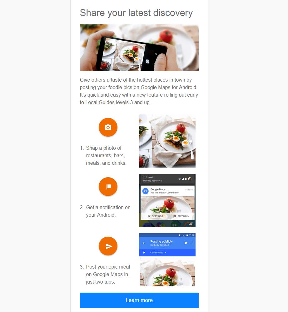 google maps food