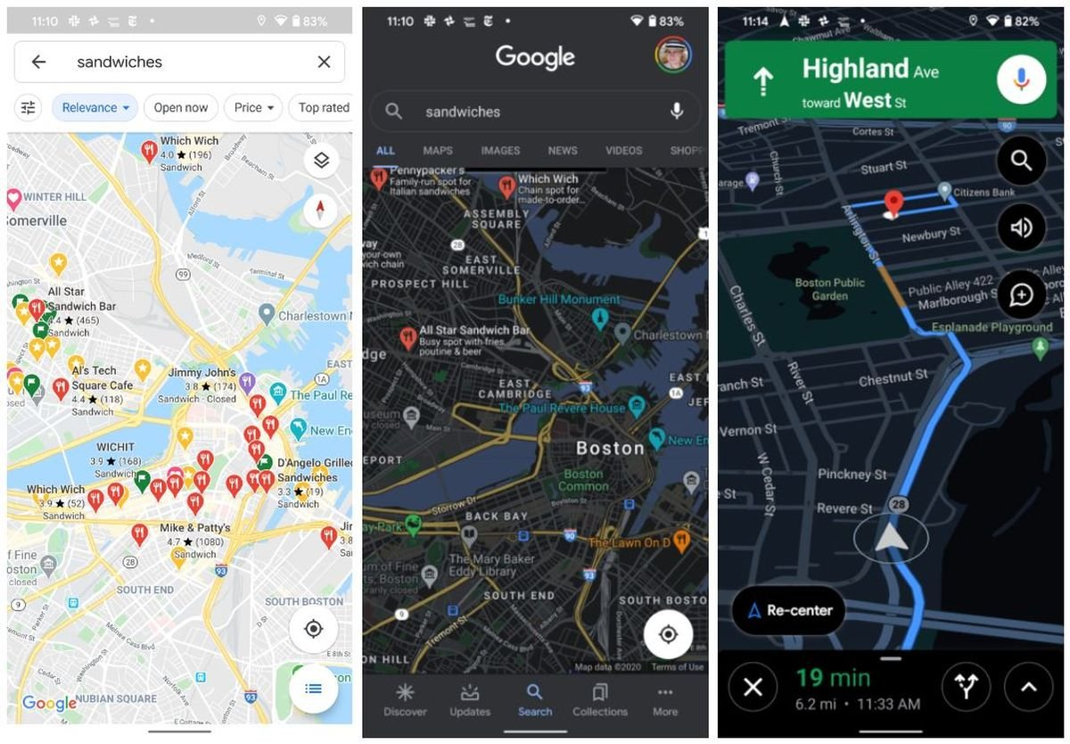 Google Maps Hell Dunkel Navigation
