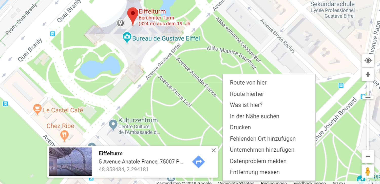 google maps koordinaten auslesen
