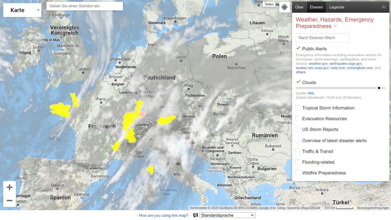google maps krisenkarte wolken