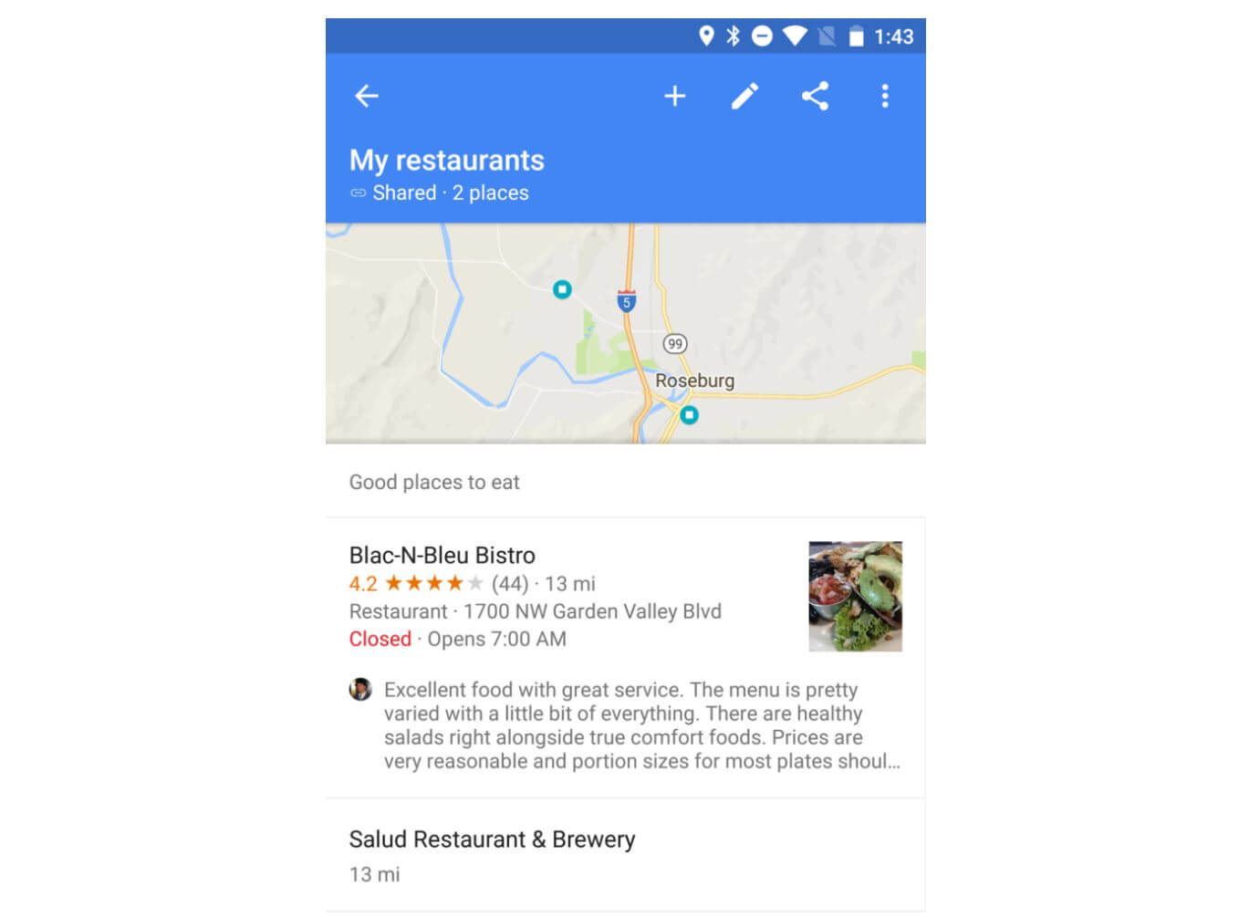 google maps list review