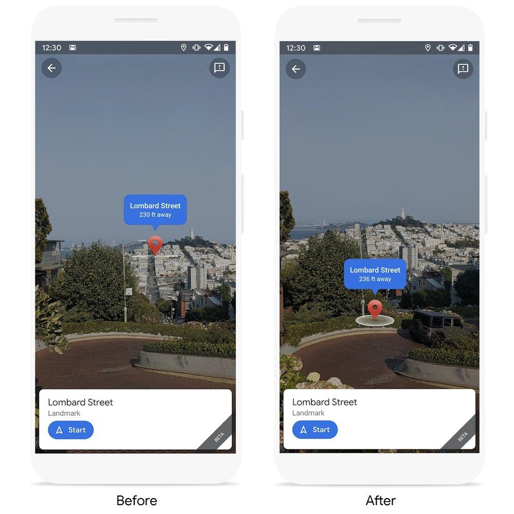 google maps live view pin