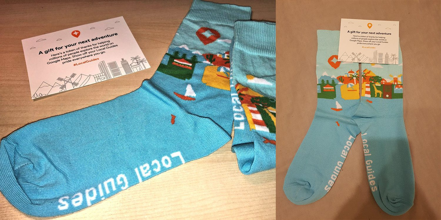 google maps local guides geschenk socken