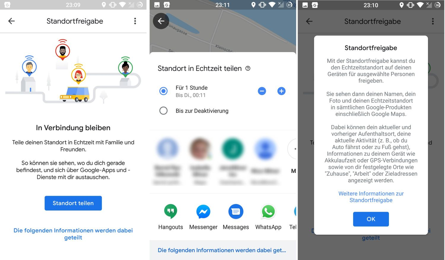 google maps location sharing new design menu