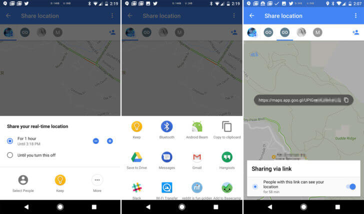 google maps location sharing screen