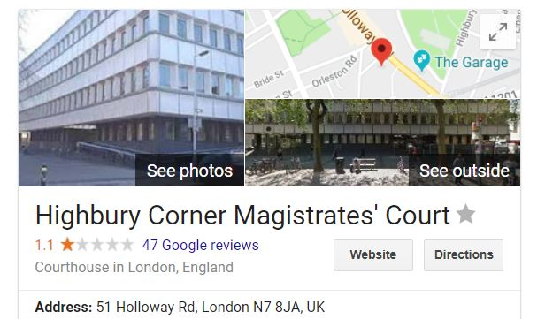 google maps london courthouse
