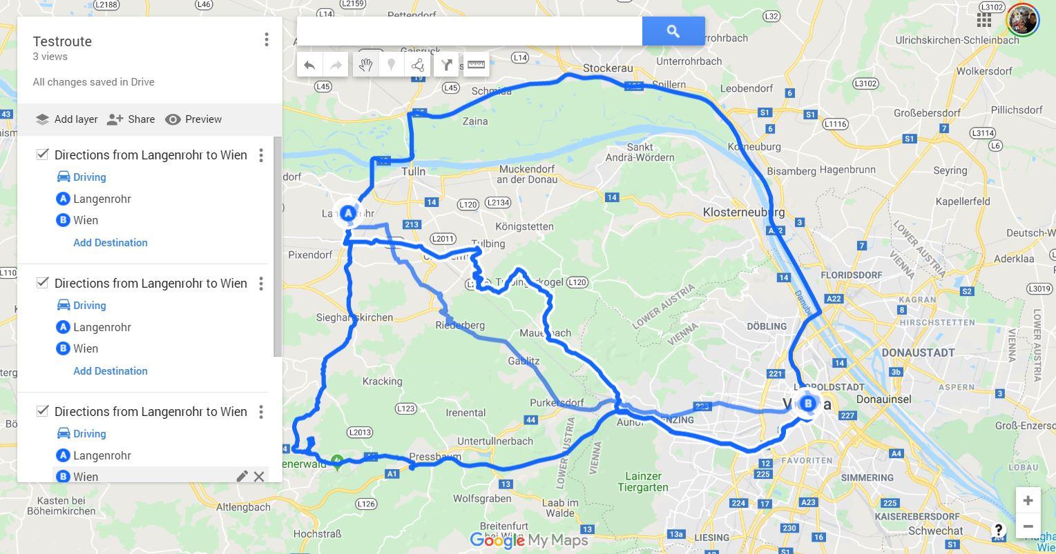 google maps my maps routen