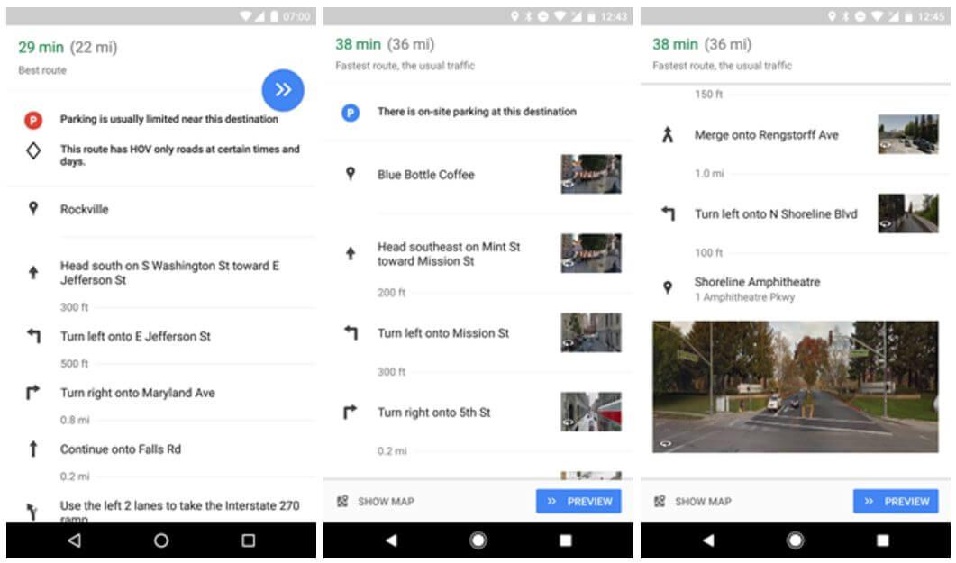 google maps navi streetview