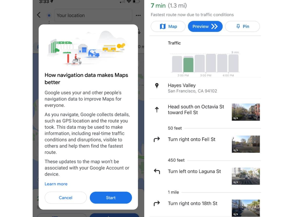 google maps navigation datensammlung
