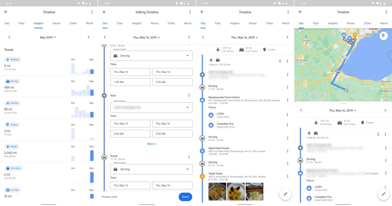 google maps new timeline
