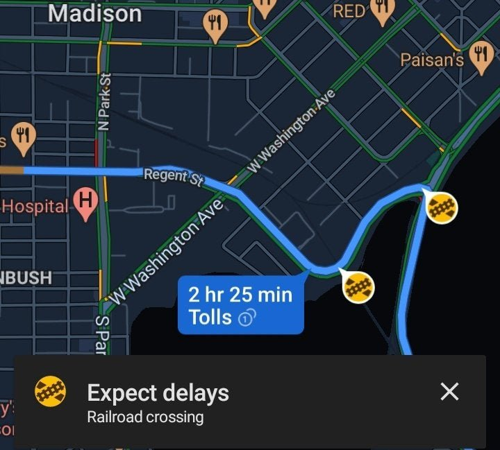 google maps oepnv routenplanung navigation warnung bahnuebergang