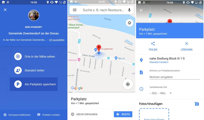google maps parkplatz speichern