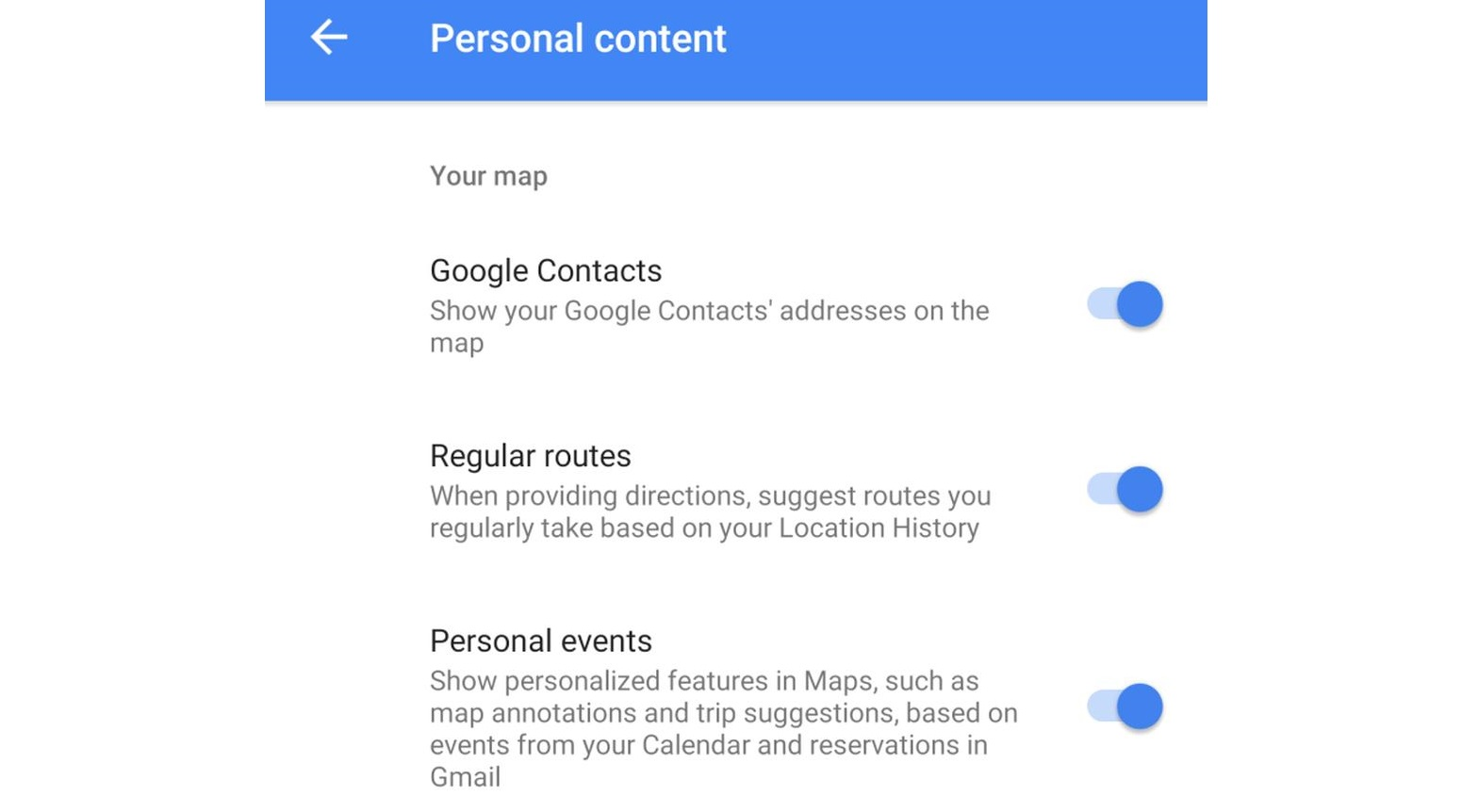 google maps personal events
