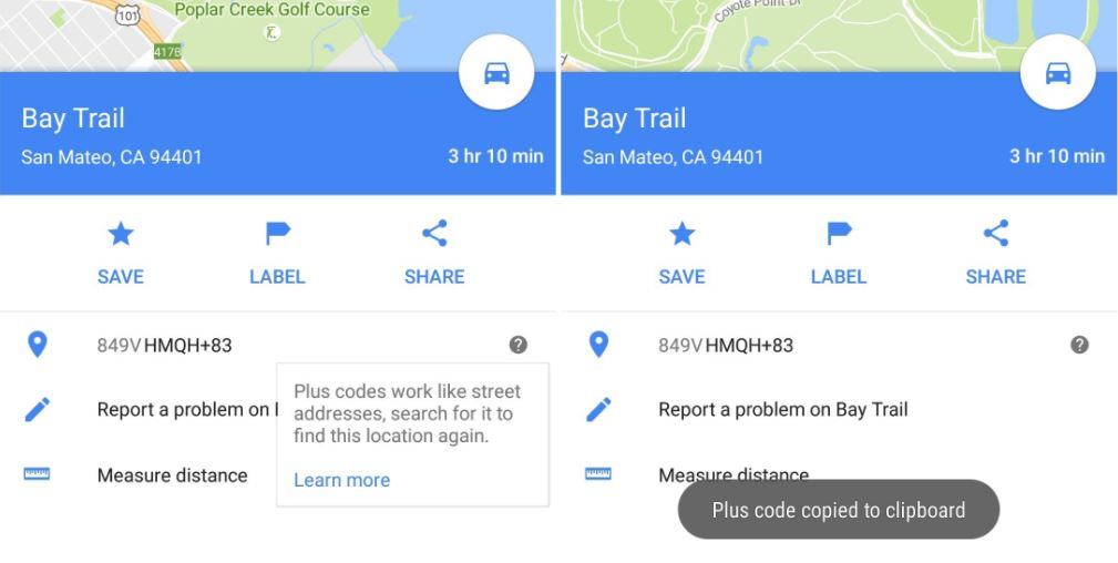 google maps plus code