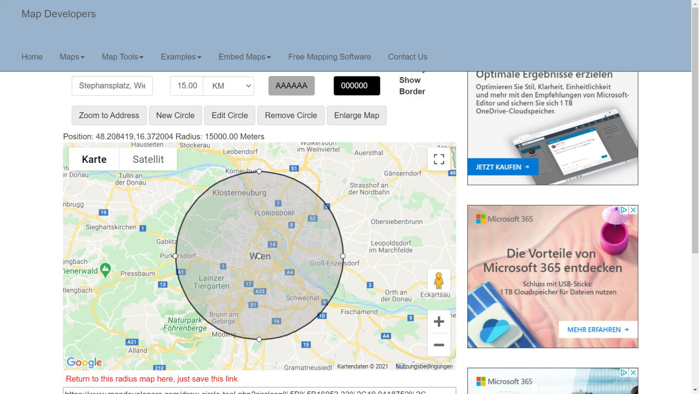 google maps radius karte