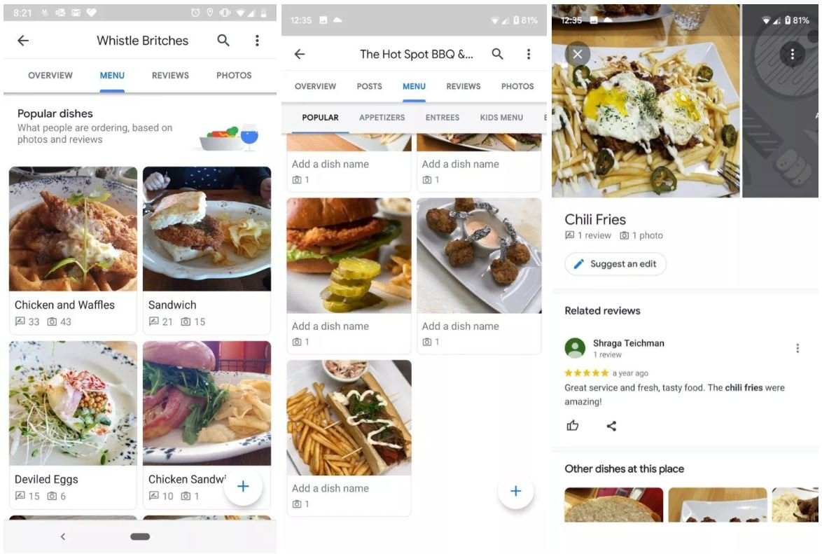 google maps restaurant