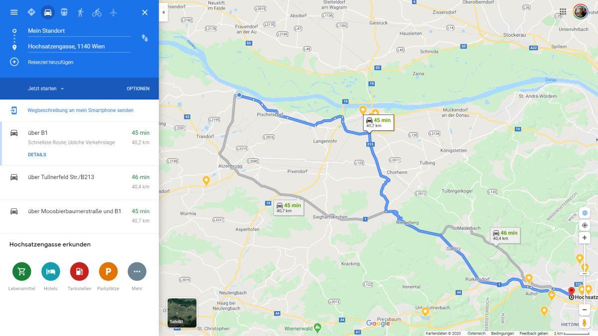 google maps routen zur auswahl