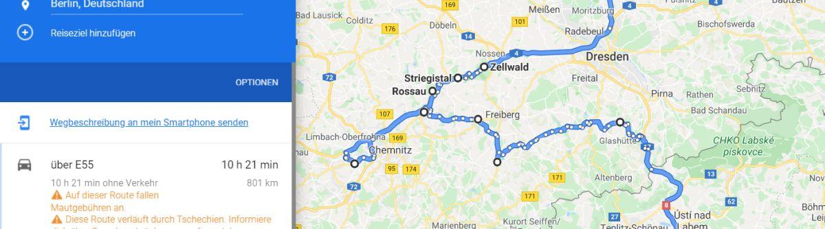 google maps routenplanung senden