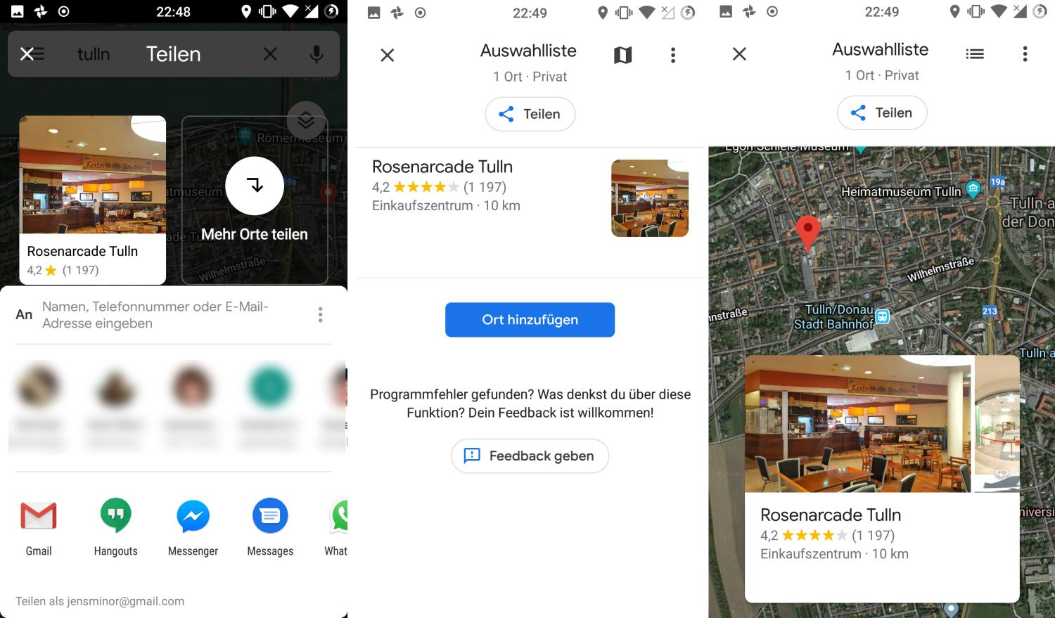 google maps share menu new