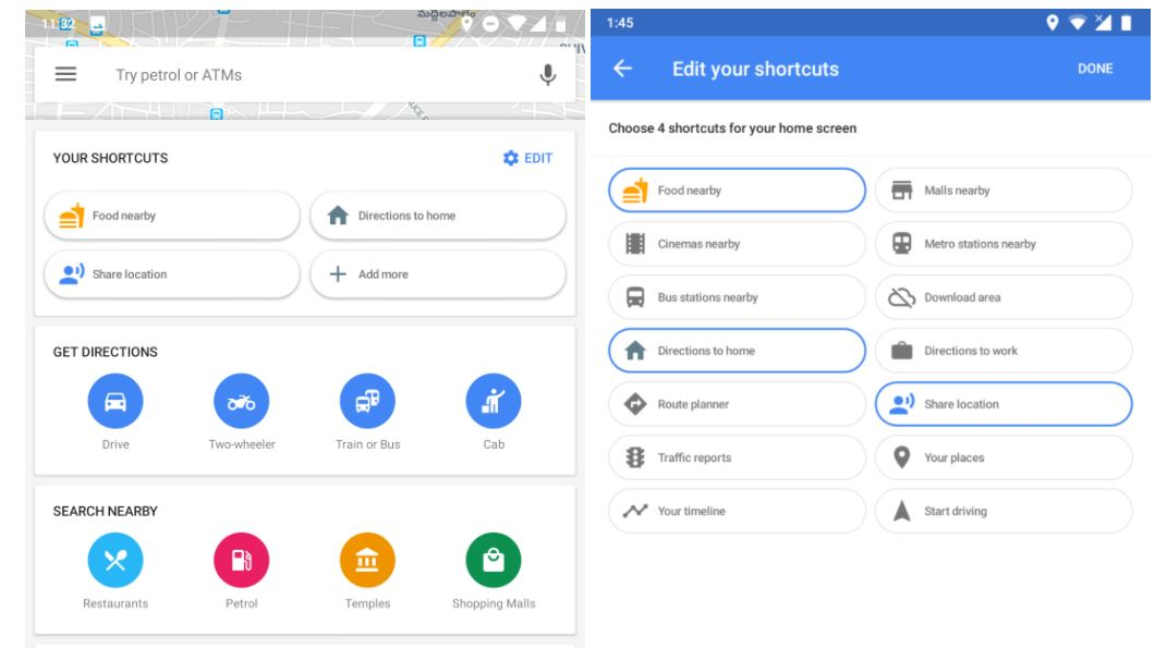google maps shortcuts settings