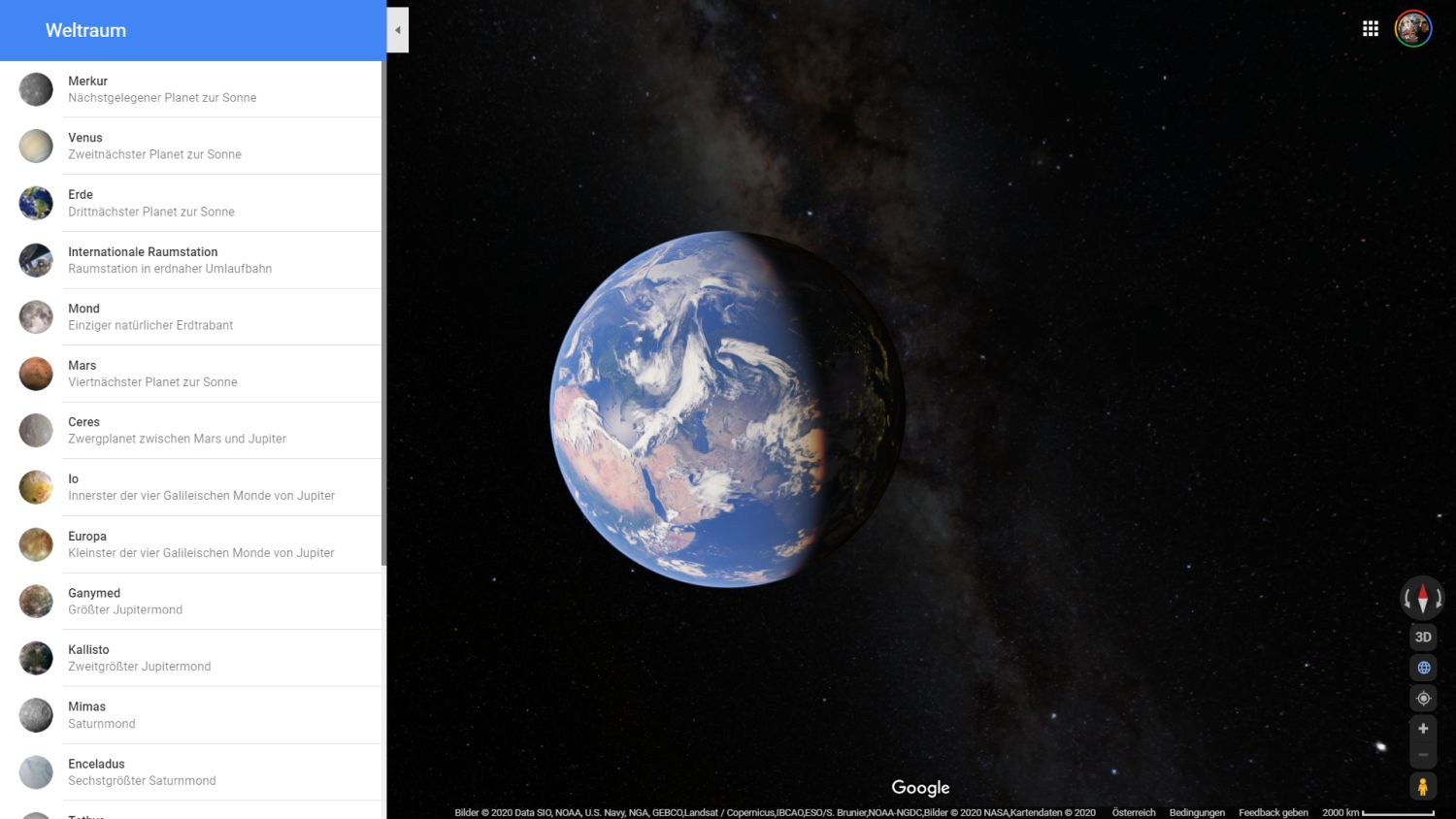 google maps space earth view