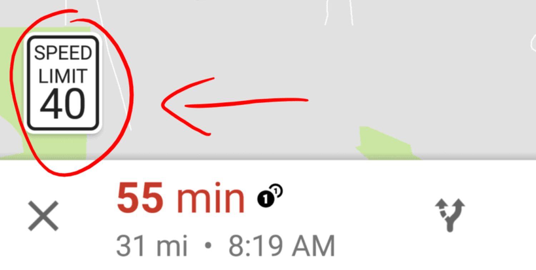 google maps speed limit