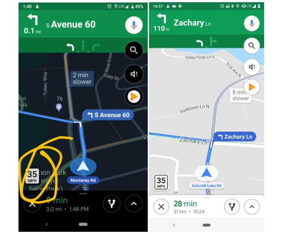google maps speed