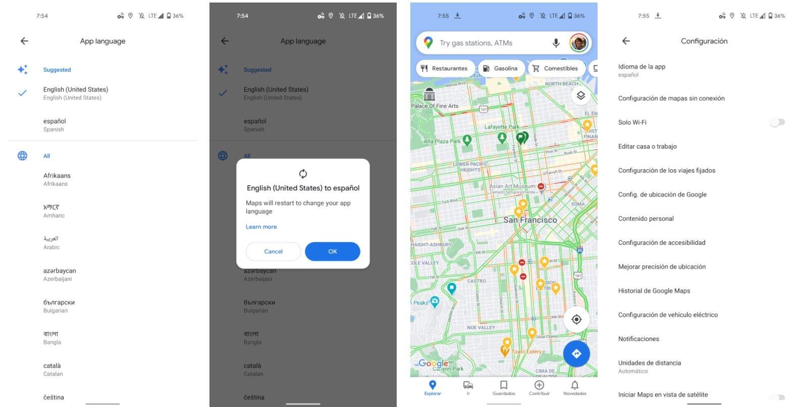 google maps sprache auswahl