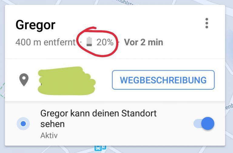 google maps standortfreigabe akku