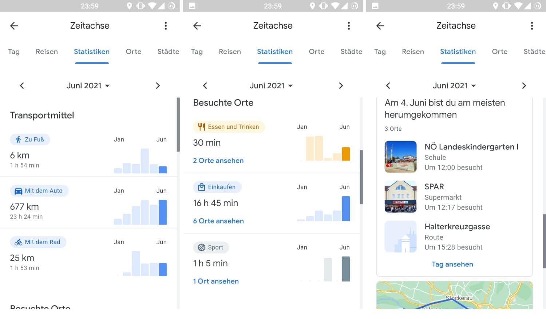 google maps standortverlauf zeitachse statistiken