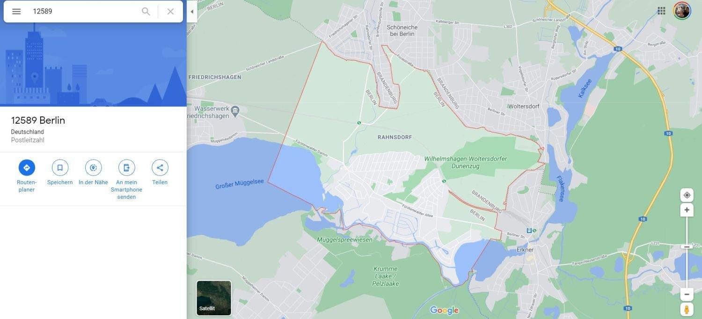 google maps suche postleitzahl