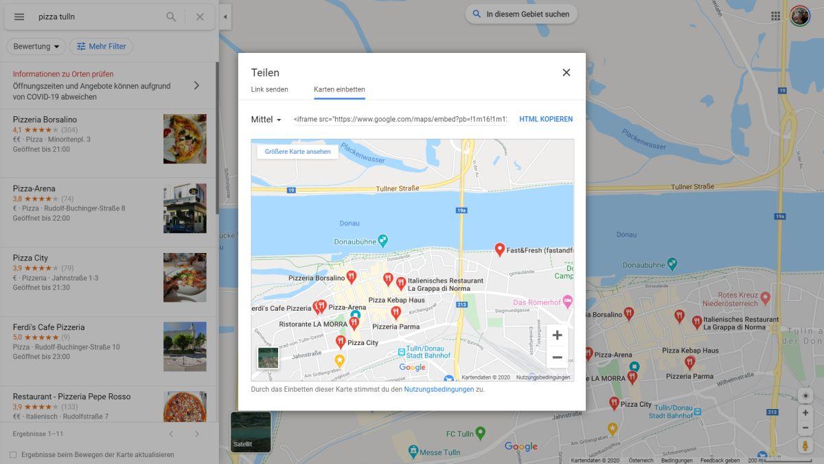 google maps teilen und einbetten