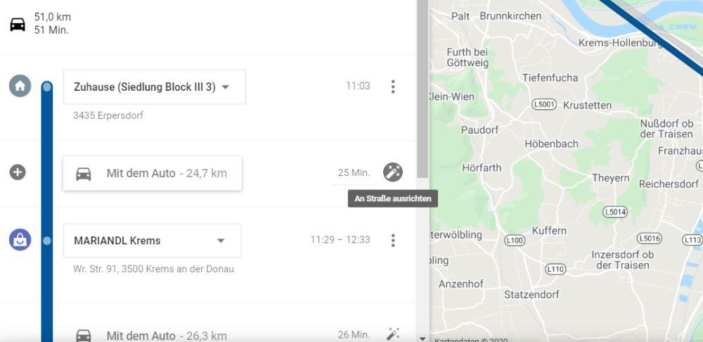google maps zeitachse an strasse ausrichten