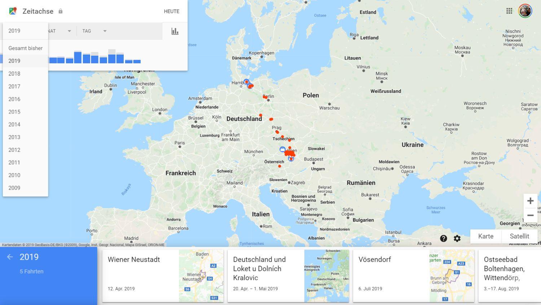 google maps zeitachse datum