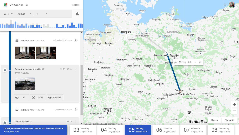 google maps zeitachse detail